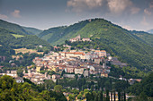 Cityscape by mountain in Cascia, Italy