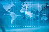 Doppelbelichtung des Flugzeugs auf Startbahn und Weltkarte