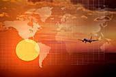 Doppelbelichtung eines am Himmel fliegenden Flugzeugs und Weltkarte