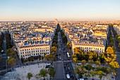 France, Paris, general view with the Place de l'Etoile and Avenue de Wagram