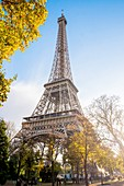 France, Paris, area listed as World Heritage by UNESCO, the Champs de Mars garden and the Eiffel Tower in autumn