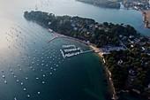 France, Morbihan, Arradon and its marina (aerial view)