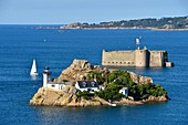 France, Finistere, Morlaix bay, Carantec, Louet island and Taureau castle