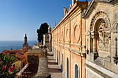 France, Alpes Maritimes, Menton, old town, the St Michael Basilica bell tower seen from the Old Castle cemetery, marine cemetery