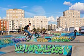France, Seine Maritime, Le Havre, city center listed as World Heritage by UNESCO, skatepark on the seafront with au Porte Oceane by Auguste Perret (1956)