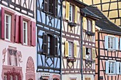 France, Haut Rhin, Route des Vins d'Alsace, Colmar, Petite Venise district, row of half timbered houses on Quai de la Poissonnerie