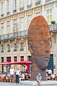France, Gironde, Bordeaux, area listed as World Heritage by UNESCO, Place de la Comedie, sculpture by the Spanish artist Jaume Plensa entitled Sanna
