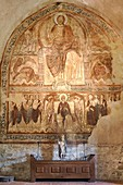 France, Haute Loire, Lavaudieu, Labeled The Most Beautiful Villages of France, St Andre abbey, Fresco of the refectory of Byzantine influence of the 12th century
