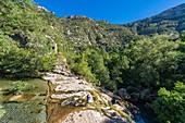 France, Gard, the Causses and the Cevennes, Mediterranean agro-pastoral Cultural Landscape listed as a UNESCO World Heritage site, Vis gorges, Saint-Maurice-Navacelles, Cirque de Navacelles, Vis river