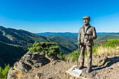 France, Gard, the Causses and the Cevennes, Mediterranean agro-pastoral Cultural Landscape listed as a UNESCO World Heritage site, Cevennes national park, Asclier pass (alt : 905 m), tribute to the shepherds
