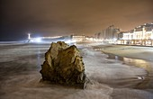 France, Pyrennees Atlantique, Basque Country, Biarritz, night view of the Grande Plage with the Casino