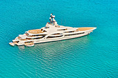 Luxury yacht off Antigua, Caribbean, Central Ametica