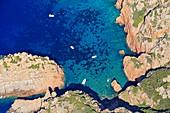 France, Corse du Sud, Deux Sevi, Piana, Gulf of Porto, Cap Rosso (aerial view)