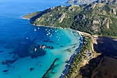 France, Corse du Sud, Gulf of Santa Giulia, south of Porto Vecchio, pond of Santa Giulia (aerial view)