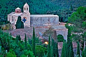 France, Aude, Regional Natural Park of Narbonne in the Mediterranean, Fontfroide Abbey, General view of the Cistercian Abbey