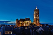 France, Aveyron, listed at Great Tourist Sites in Midi Pyrenees, Rodez, Notre Dame de Rodez catedral, Night Cathedral lit