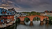 France, Aveyron, Espalion, listed as World Heritage by UNESCO, Old bridge, listed as The most beautiful villages in France, view of sandstone bridge and the city on the banks of the Lot