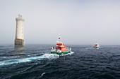 France, Finistere, Molene Archipelago, the beacons land on the lighthouse of Kéréon built on the reef of Men Tensel, listed as Historic Monument