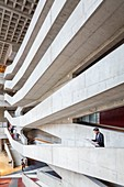 France, Seine Saint Denis, Pantin, National Center of Dance (CND) installed in a building of the brutalist architect Jacques Kalisz, atrium
