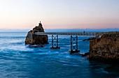 France, Pyrenees Atlantiques, Euskadi, Pays Basque, Biarritz, rock of the virgin at dusk