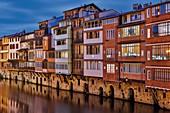 Frankreich, Tarn, Castres, Blick auf die Fassaden der Häuser am Ufer der Agoût