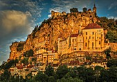 France, Lot, listed at Great Tourist Sites in Midi Pyrenees, Rocamadour, Natural regional park Causses du Quercy, listed as World Heritage by UNESCO, the village lit by the morning sun