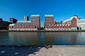 The Spoorweghaven harbor basin with a clear blue sky in summer. It is located in the Zuid district, Rotterdam, the Netherlands.