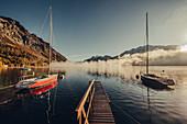 Silsersee bei Sonnenaufgang im Oberengadin, Sankt Moritz im Engadin, Schweiz