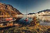 Lake Sils at sunrise in the Upper Engadine, St. Moritz in the Engadine, Switzerland