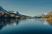 Lake Sils at sunrise, Oberengadin, Sankt Moritz im Engadin, Switzerland, Europe