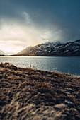 Lago Bianco bei Abendstimmung, Oberengadin, Engadin, Schweiz, Europa\n