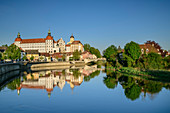 Neuburg Castle reflected in the Danube, Neuburg an der Donau, Danube Cycle Path, Upper Bavaria, Bavaria, Germany