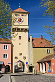 City gate of Kelheim, Danube Cycle Path, Kelheim, Lower Bavaria, Bavaria, Germany