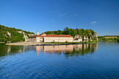 Weltenburg Abbey and Danube, Weltenburg Abbey, Danube Cycle Path, Kelheim, Lower Bavaria, Bavaria, Germany