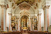 Altar of the Benedictine Abbey Metten, Metten, Danube Cycle Path, Lower Bavaria, Bavaria, Germany