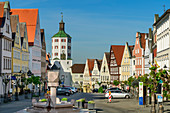 Town square with Kuhturm, Günzburg, Danube Cycle Path, Swabia, Bavaria, Germany