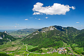 Deep view of Kofel, Weitmoos, Laber, Ettaler Manndl and Ettal Abbey, from the Notkarspitze, Ammergau Alps, Upper Bavaria, Bavaria, Germany