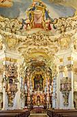 Altar and vaulted ceiling of the Wieskirche, Wieskirche, Pfaffenwinkel, UNESCO World Heritage, Upper Bavaria, Bavaria, Germany