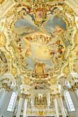 Orgel und Deckengewölbe der Wieskirche, Wieskirche, Pfaffenwinkel, UNESCO Welterbe, Oberbayern, Bayern, Deutschland