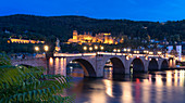 Heidelberg Castle and Old Bridge on the Neckar, Heidelberg, Baden-Würtemberg, Germany