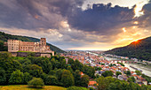 Heidelberg Castle with old town, view from Scheffelterrasse, Heidelberg, Baden-Würtemberg, Germany