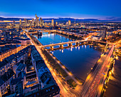 Frankfurt am Main skyline at blue hour, view from Lindner Hotel, Main Plaza, Hesse, Germany