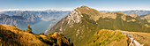 Panoramic view from Monte Baldo on Lake Garda, Lake Garda mountains, Veneto, Italy