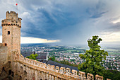 View from Auerbach Castle into the Rhine plain during a thunderstorm, Bergstrasse, Bensheim, Hesse, Germany