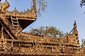 Shwenandaw Monastery (Gold Palace Monastery) made of teak. Mandalay, Myanmar