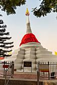 Leaning pagoda, white chedi on the shore of Koh Kret, Bangkok, Thailand