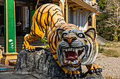 Tiger figure at the entrance to the Tiger Cave Temple (Wat Tham Sua, Krabi Town, Krabi Region, Thailand