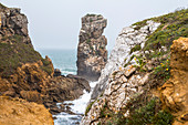 "Rock formations ""Papoa"" on Peniche peninsula in light fog, Peniche, Portugal"