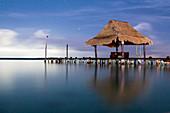 Night shot of jetty on the Bacalar Lagoon, Quintana Roo, Yucatan Peninsula, Mexico