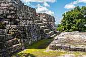 Mayan pyramid on Calakmul temple grounds in the jungle, Yucatan Peninsula, Mexico